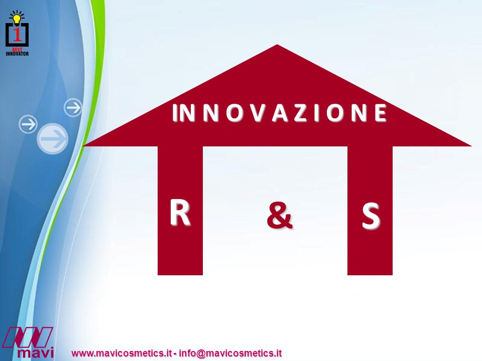 Powerpoint Templates www.mavicosmetics.it - info@mavicosmetics.it R IN N O V A Z I O N E &S