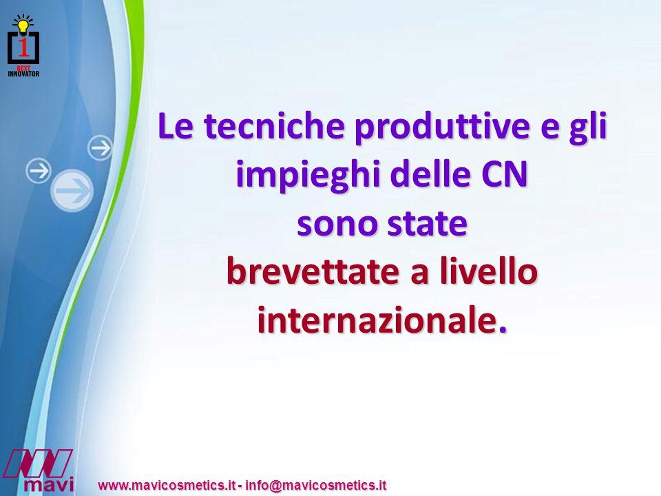 Powerpoint Templates www.mavicosmetics.it - info@mavicosmetics.it Le tecniche produttive e gli impieghi delle CN sono state brevettate a livello internazionale.