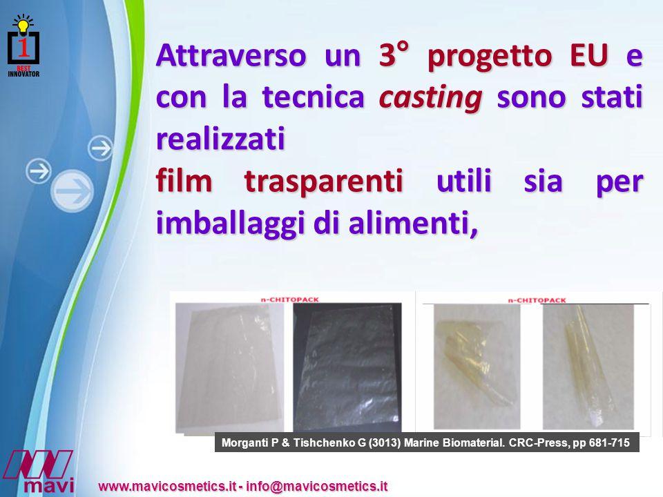 Powerpoint Templates www.mavicosmetics.it - info@mavicosmetics.it Attraverso un 3° progetto EU e con la tecnica casting sono stati realizzati film trasparenti utili sia per imballaggi di alimenti, Morganti P & Tishchenko G (3013) Marine Biomaterial.
