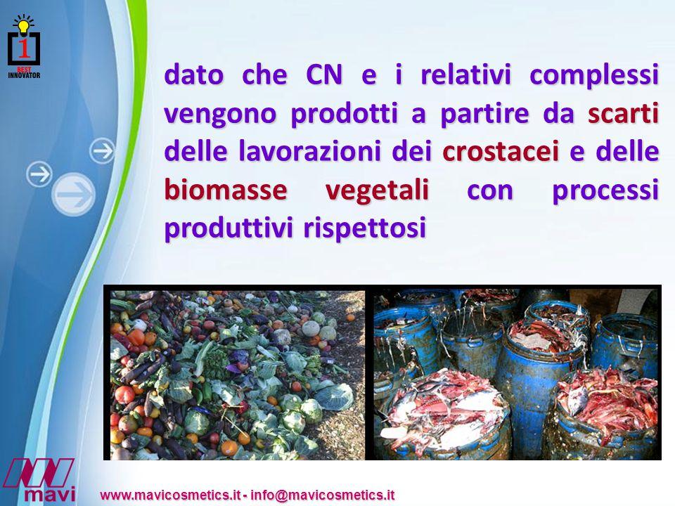 Powerpoint Templates www.mavicosmetics.it - info@mavicosmetics.it dato che CN e i relativi complessi vengono prodotti a partire da scarti delle lavorazioni dei crostacei e delle biomasse vegetali con processi produttivi rispettosi