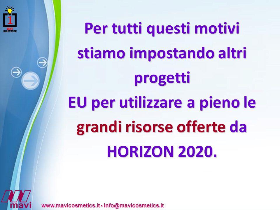 Powerpoint Templates www.mavicosmetics.it - info@mavicosmetics.it Per tutti questi motivi stiamo impostando altri progetti EU per utilizzare a pieno le grandi risorse offerte da HORIZON 2020.