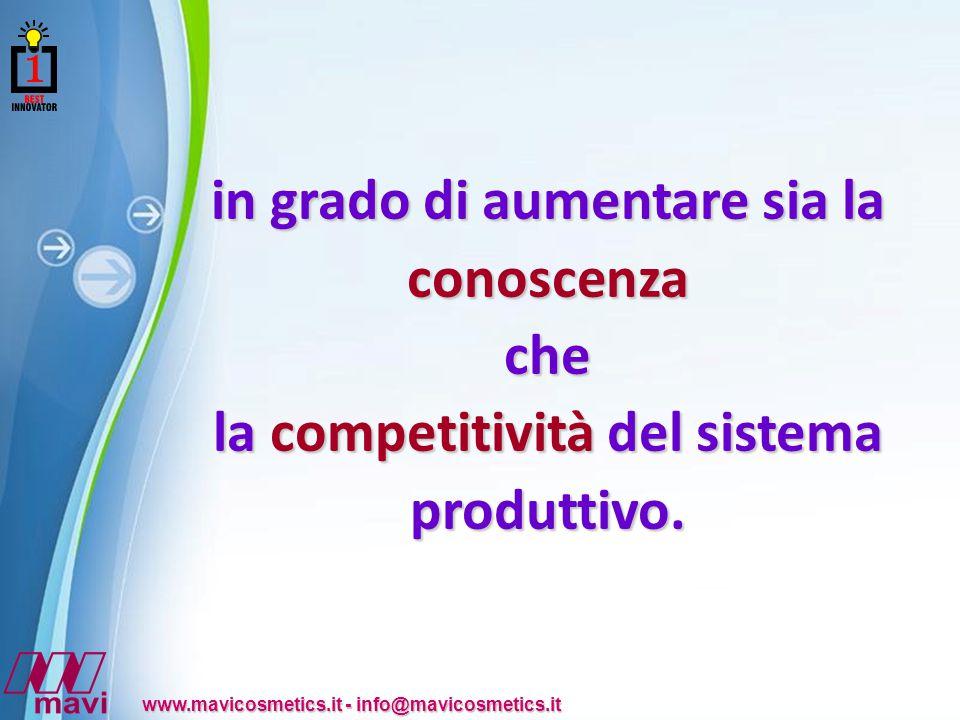 Powerpoint Templates www.mavicosmetics.it - info@mavicosmetics.it in grado di aumentare sia la conoscenza che la competitività del sistema produttivo.