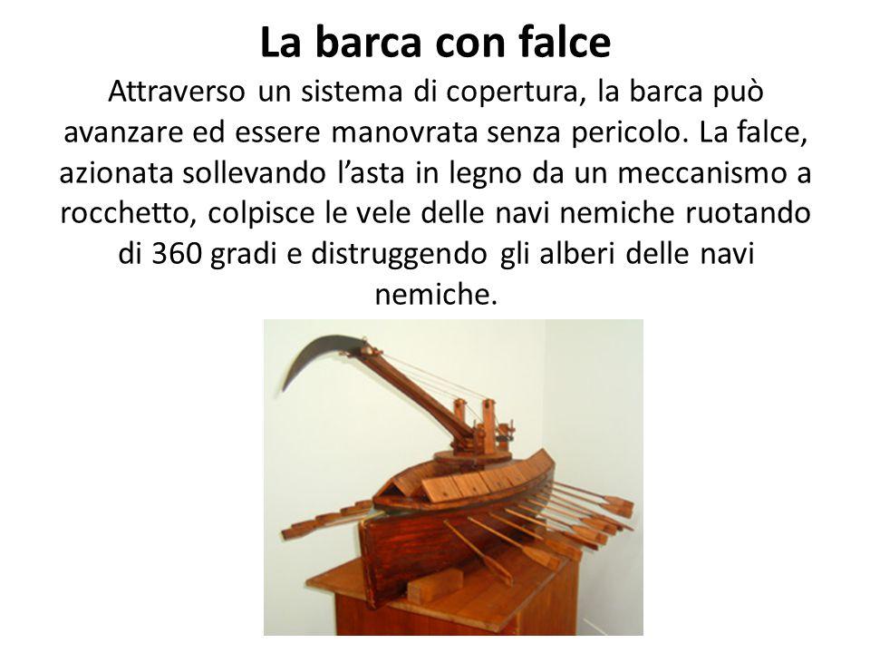 Carro falciante Il disegno di Leonardo mostra un carro trainato da cavalli con falci ruotanti mosse da un ingegnoso meccanismo di trasmissione che, at