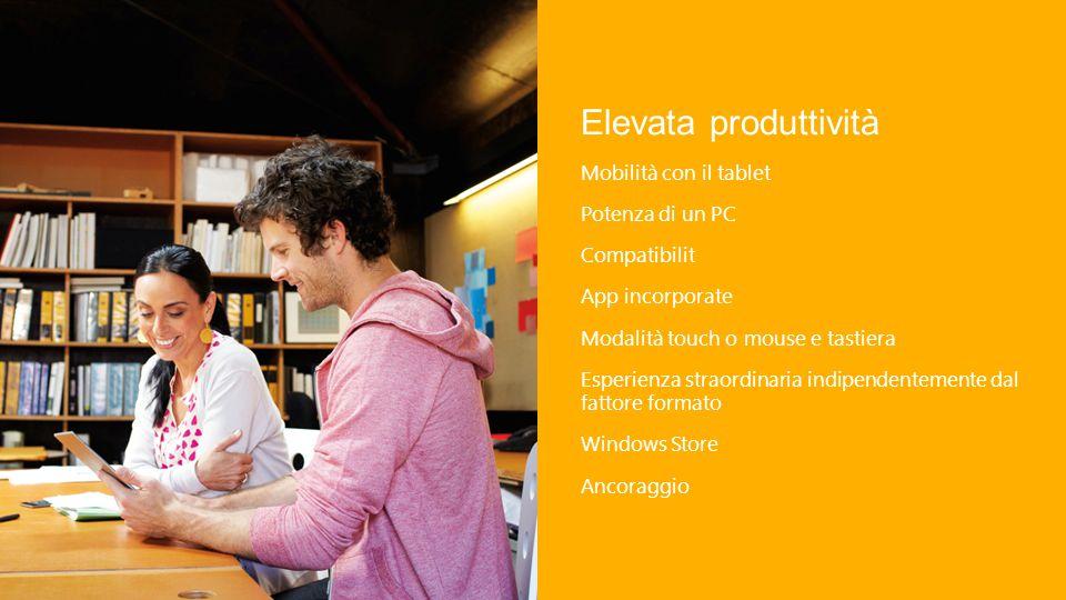 Elevata produttività Mobilità con il tablet Potenza di un PC Compatibilit App incorporate Modalità touch o mouse e tastiera Esperienza straordinaria indipendentemente dal fattore formato Windows Store Ancoraggio