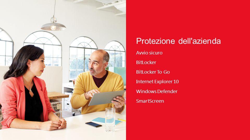 Protezione dell azienda Avvio sicuro BitLocker BitLocker To Go Internet Explorer 10 Windows Defender SmartScreen