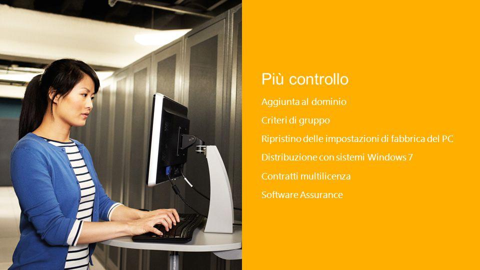 Più controllo Aggiunta al dominio Criteri di gruppo Ripristino delle impostazioni di fabbrica del PC Distribuzione con sistemi Windows 7 Contratti multilicenza Software Assurance