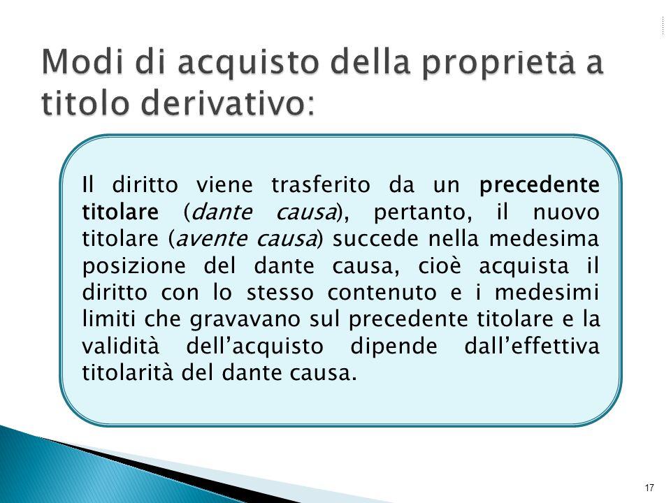 17 Il diritto viene trasferito da un precedente titolare (dante causa), pertanto, il nuovo titolare (avente causa) succede nella medesima posizione de