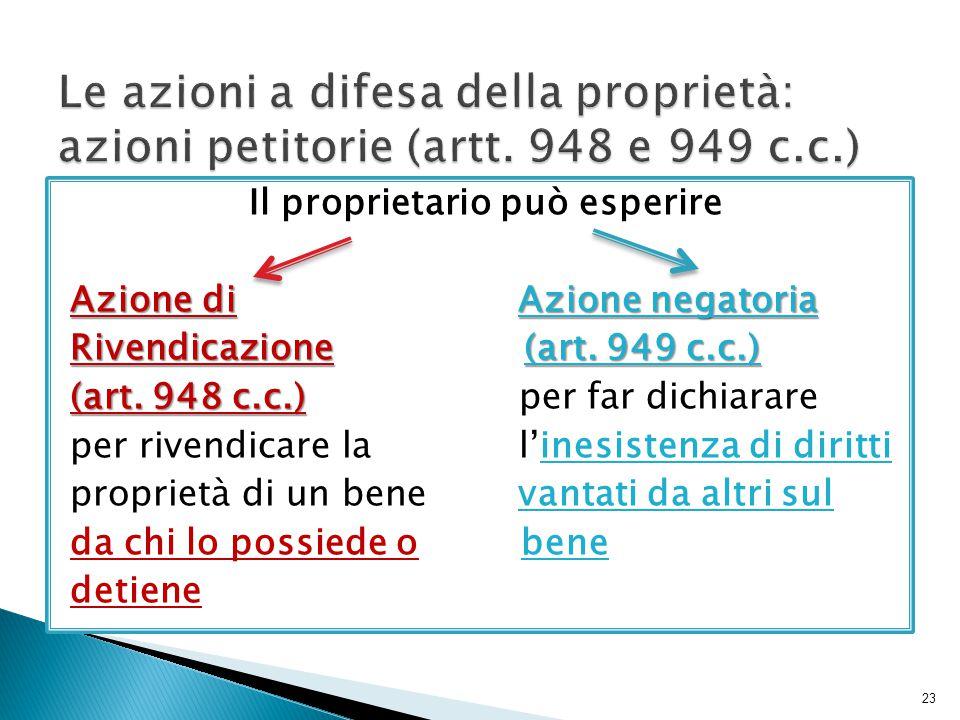 Il proprietario può esperire Azione di Azione negatoria Rivendicazione (art. 949 c.c.) (art. 948 c.c.) (art. 948 c.c.) per far dichiarare per rivendic