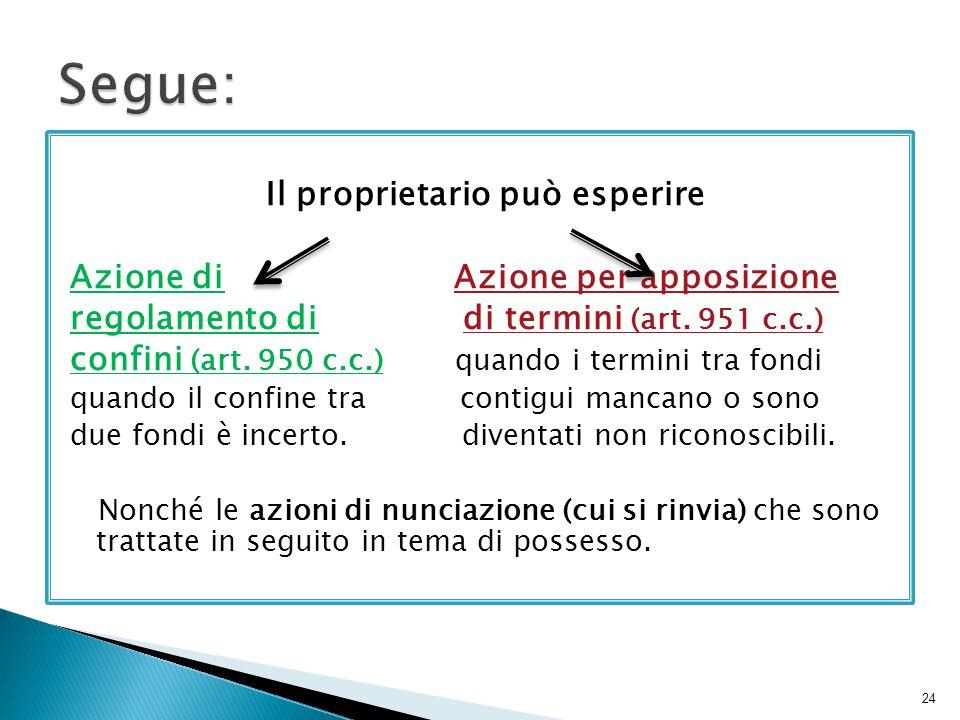 Il proprietario può esperire Azione di Azione per apposizione regolamento di di termini (art. 951 c.c.) confini (art. 950 c.c.) quando i termini tra f