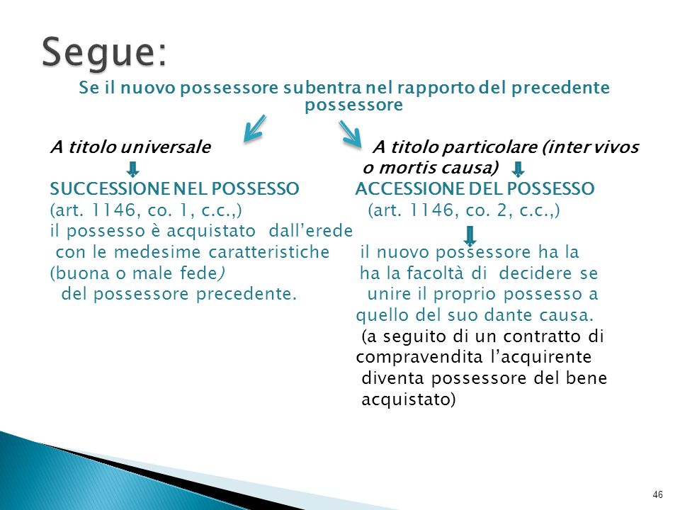 Se il nuovo possessore subentra nel rapporto del precedente possessore A titolo universale A titolo particolare (inter vivos o mortis causa) SUCCESSIO