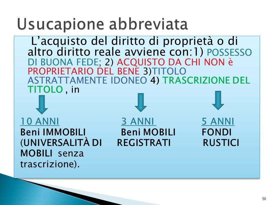 L'acquisto del diritto di proprietà o di altro diritto reale avviene con:1) POSSESSO DI BUONA FEDE; 2) ACQUISTO DA CHI NON è PROPRIETARIO DEL BENE 3)T