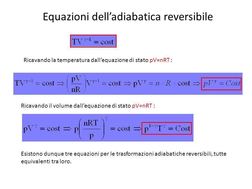Equazioni dell'adiabatica reversibile Ricavando la temperatura dall'equazione di stato pV=nRT : Ricavando il volume dall'equazione di stato pV=nRT : E