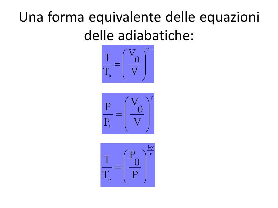 Una forma equivalente delle equazioni delle adiabatiche: