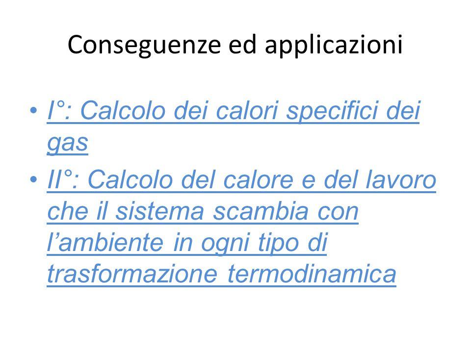 Conseguenze ed applicazioni I°: Calcolo dei calori specifici dei gas II°: Calcolo del calore e del lavoro che il sistema scambia con l'ambiente in ogn