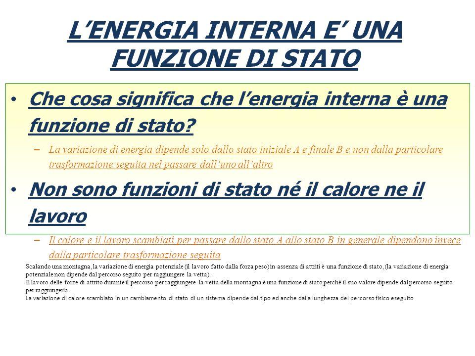 L'ENERGIA INTERNA E' UNA FUNZIONE DI STATO Che cosa significa che l'energia interna è una funzione di stato? – La variazione di energia dipende solo d