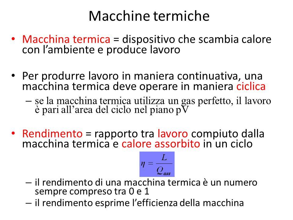 Macchine termiche Macchina termica = dispositivo che scambia calore con l'ambiente e produce lavoro Per produrre lavoro in maniera continuativa, una m