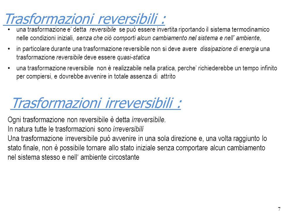 7 Trasformazioni reversibili : nel, una trasformazione e' detta reversibile se può essere invertita riportando il sistema termodinamico nelle condizio