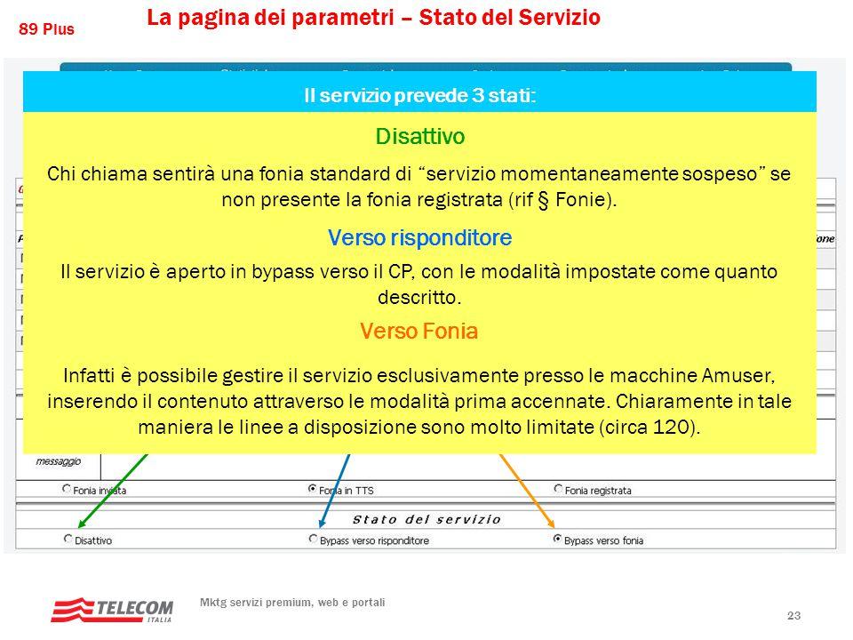 89 Plus Mktg servizi premium, web e portali 23 Il servizio prevede 3 stati: Disattivo Chi chiama sentirà una fonia standard di servizio momentaneamente sospeso se non presente la fonia registrata (rif § Fonie).