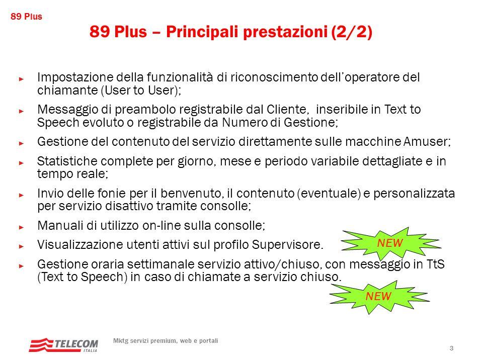 89 Plus Mktg servizi premium, web e portali 24 La pagina dei parametri RICORDA!!.