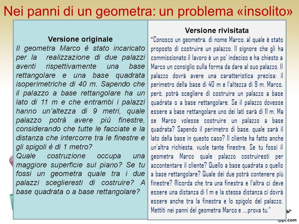 Nei panni di un geometra: un problema «insolito» PROBLEMA Il geometra Marco è stato incaricato per la realizzazione di due palazzi aventi rispettivamente una base rettangolare e una base quadrata isoperimetriche di 40 m.