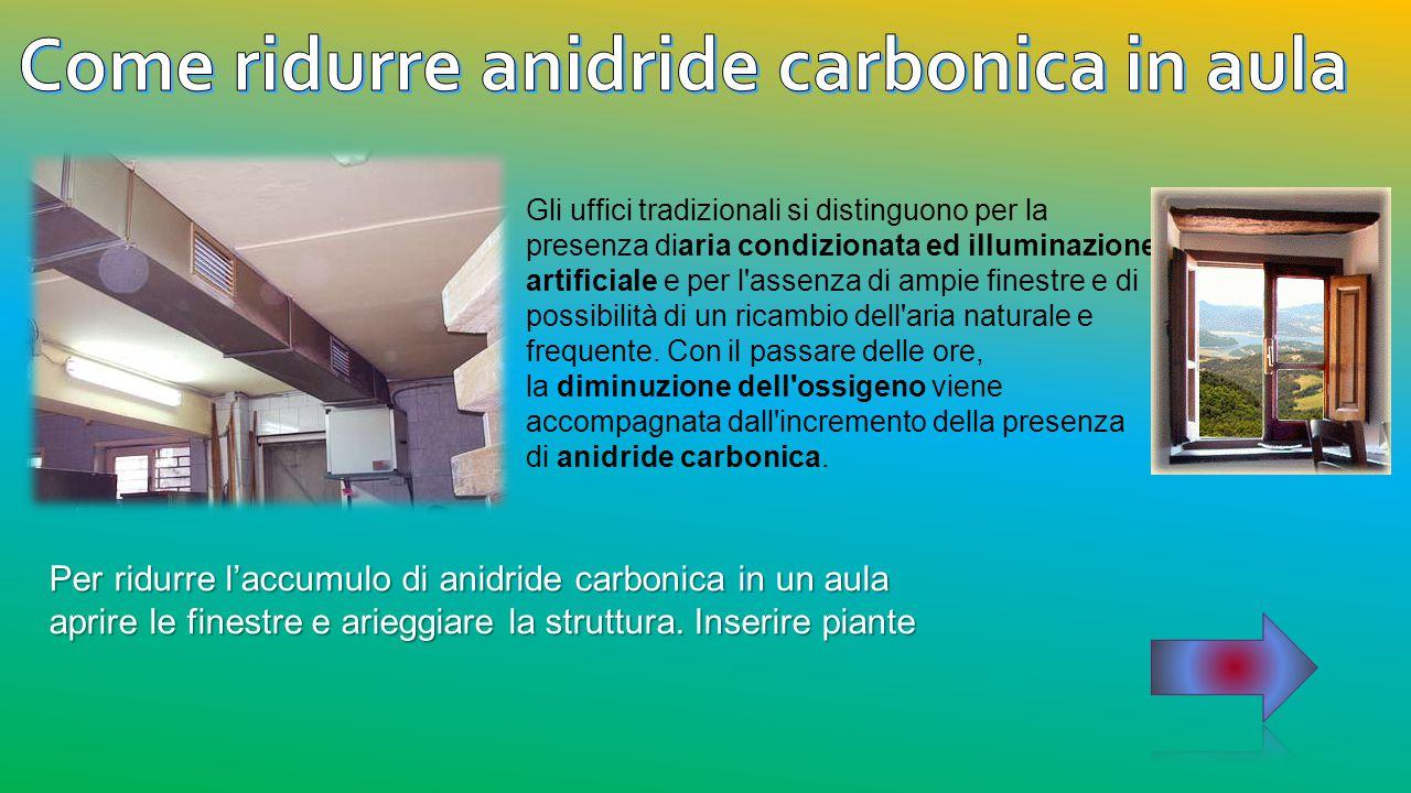 Per ridurre l'accumulo di anidride carbonica in un aula aprire le finestre e arieggiare la struttura. Inserire piante Gli uffici tradizionali si disti