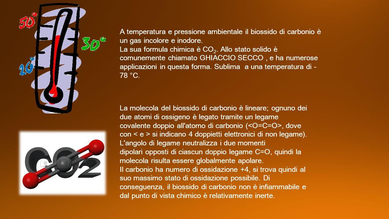 A temperatura e pressione ambientale il biossido di carbonio è un gas incolore e inodore. La sua formula chimica è CO 2. Allo stato solido è comunemen