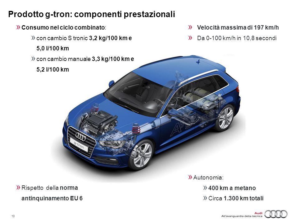 10  Velocità massima di 197 km/h  Da 0-100 km/h in 10,8 secondi  Consumo nel ciclo combinato:  con cambio S tronic 3,2 kg/100 km e 5,0 l/100 km 