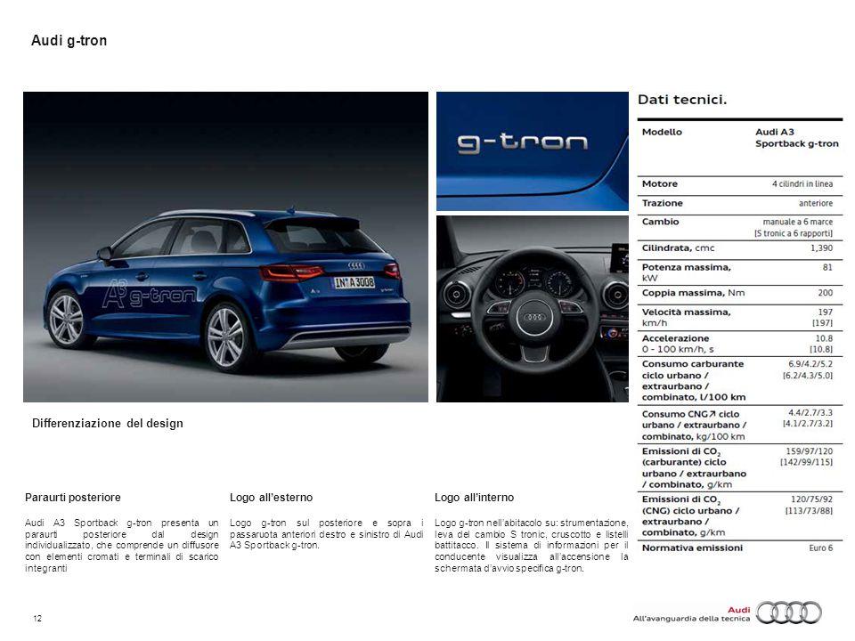 12 Audi g-tron Paraurti posteriore Audi A3 Sportback g-tron presenta un paraurti posteriore dal design individualizzato, che comprende un diffusore co