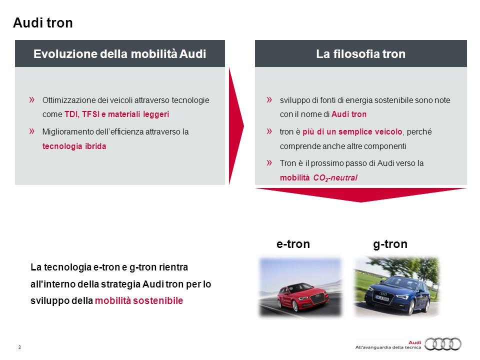 3 La tecnologia e-tron e g-tron rientra all'interno della strategia Audi tron per lo sviluppo della mobilità sostenibile g-tron La filosofia tron » sv