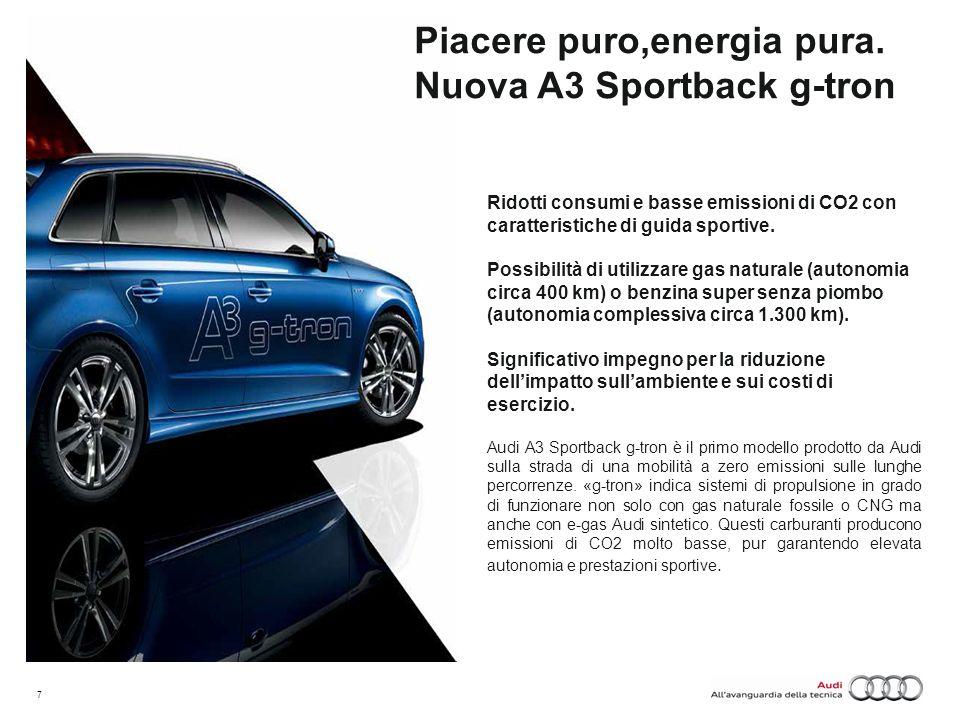 7 Piacere puro,energia pura. Nuova A3 Sportback g-tron Ridotti consumi e basse emissioni di CO2 con caratteristiche di guida sportive. Possibilità di