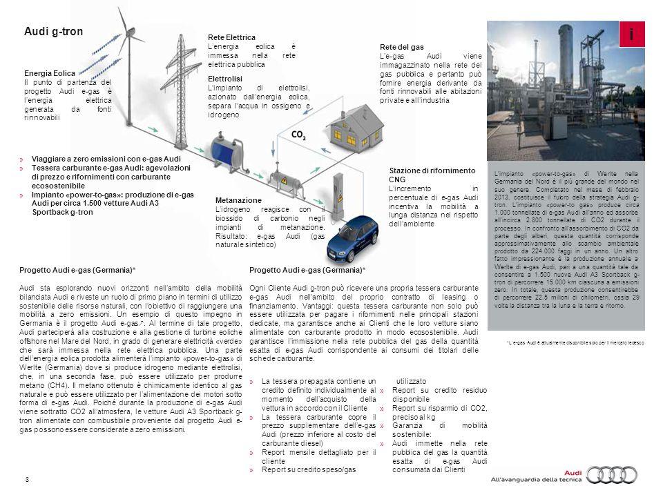 8 Audi g-tron Impianto «power-to-gas» di Werlte L'impianto «power-to-gas» di Werlte nella Germania del Nord è il più grande del mondo nel suo genere.
