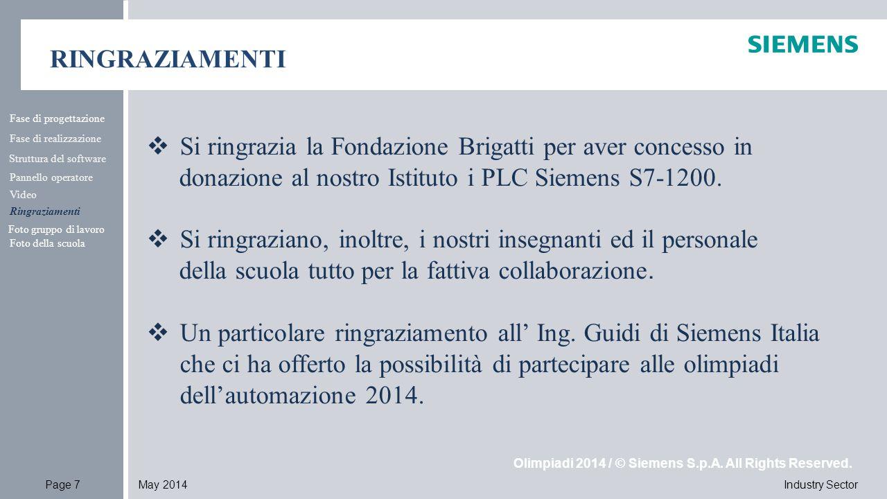 Industry SectorPage 7May 2014 Olimpiadi 2014 / © Siemens S.p.A. All Rights Reserved. RINGRAZIAMENTI Fase di progettazione Fase di realizzazione Strutt