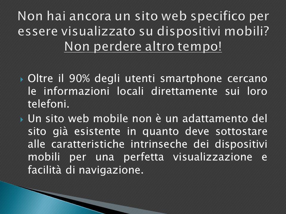  Oltre il 90% degli utenti smartphone cercano le informazioni locali direttamente sui loro telefoni.