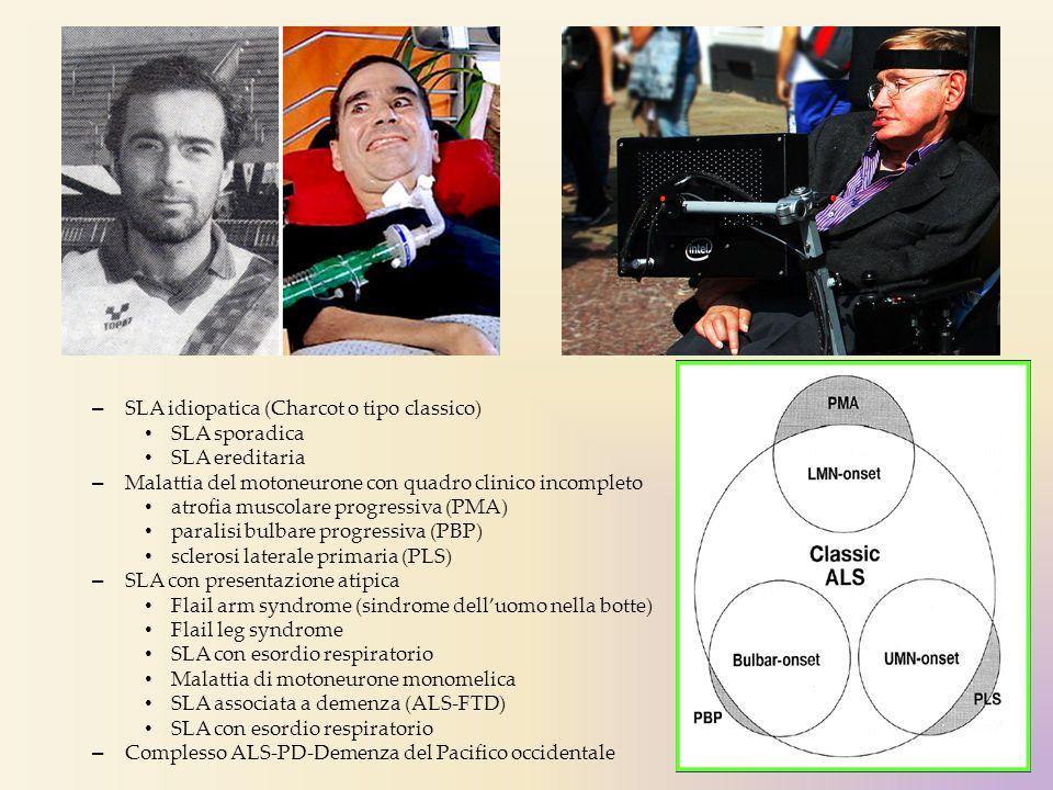 – SLA idiopatica (Charcot o tipo classico) SLA sporadica SLA ereditaria – Malattia del motoneurone con quadro clinico incompleto atrofia muscolare pro