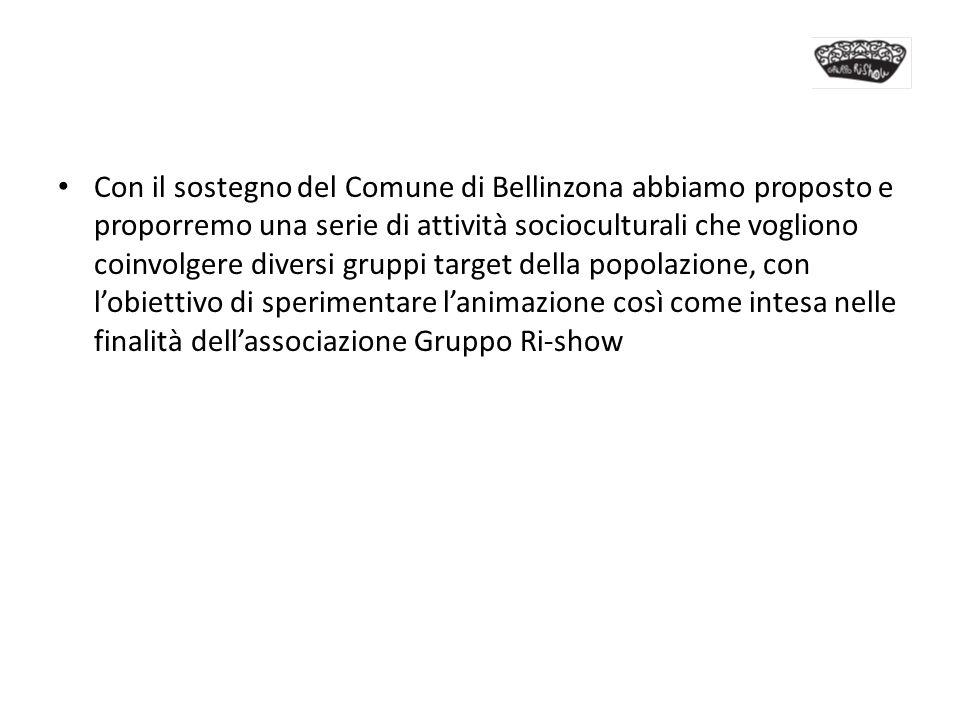 Con il sostegno del Comune di Bellinzona abbiamo proposto e proporremo una serie di attività socioculturali che vogliono coinvolgere diversi gruppi target della popolazione, con l'obiettivo di sperimentare l'animazione così come intesa nelle finalità dell'associazione Gruppo Ri-show