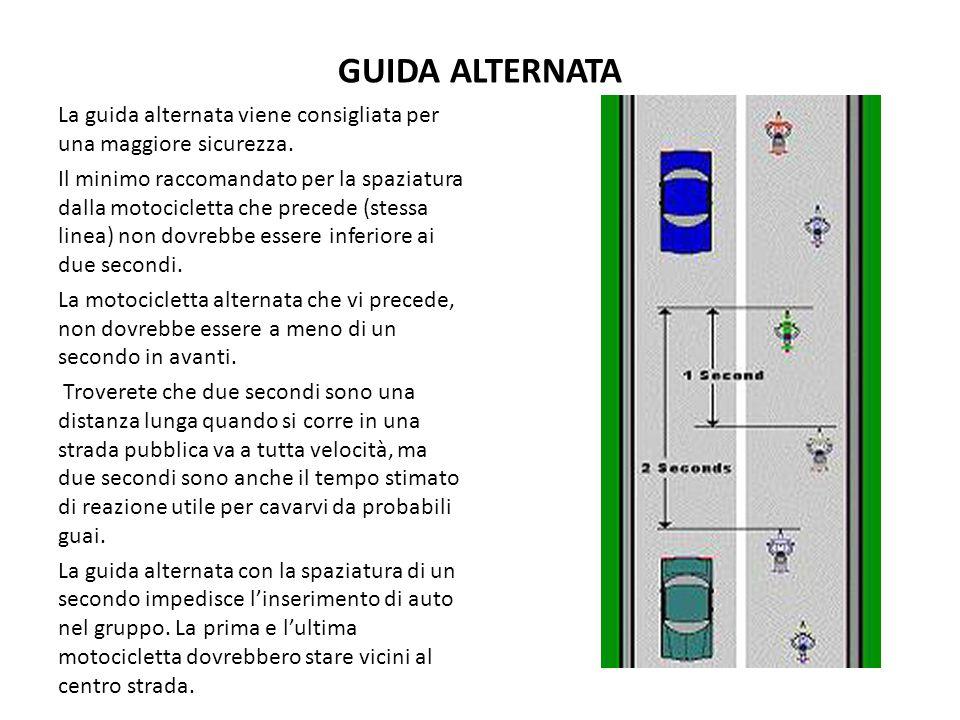 GUIDA ALTERNATA La guida alternata viene consigliata per una maggiore sicurezza. Il minimo raccomandato per la spaziatura dalla motocicletta che prece
