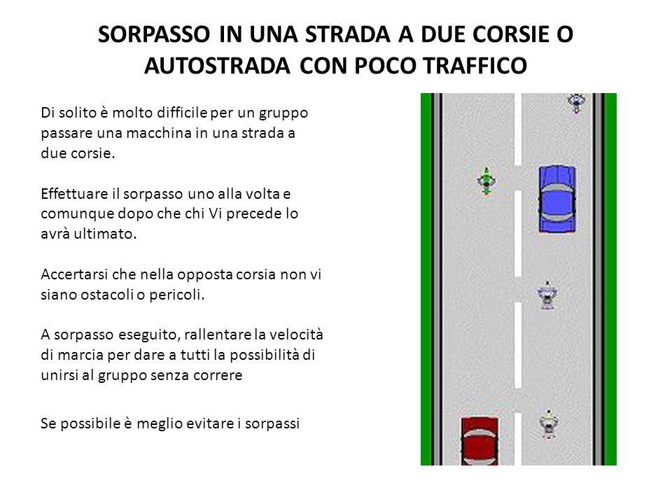 SORPASSO IN UNA STRADA A DUE CORSIE O AUTOSTRADA CON POCO TRAFFICO Di solito è molto difficile per un gruppo passare una macchina in una strada a due