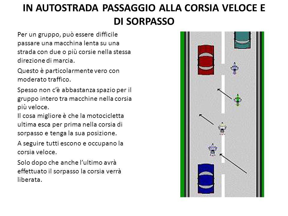 IN AUTOSTRADA PASSAGGIO ALLA CORSIA VELOCE E DI SORPASSO Per un gruppo, può essere difficile passare una macchina lenta su una strada con due o più co