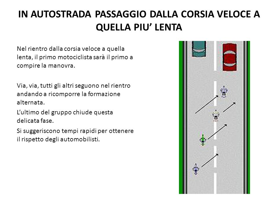 IN AUTOSTRADA PASSAGGIO DALLA CORSIA VELOCE A QUELLA PIU' LENTA Nel rientro dalla corsia veloce a quella lenta, il primo motociclista sarà il primo a