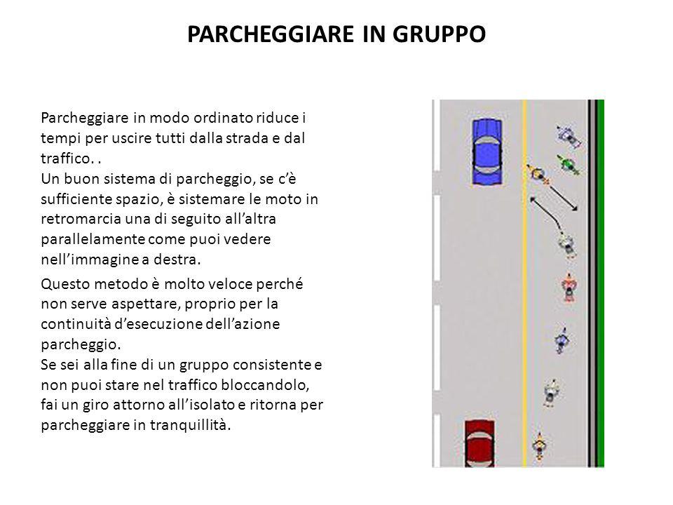 PARCHEGGIARE IN GRUPPO Parcheggiare in modo ordinato riduce i tempi per uscire tutti dalla strada e dal traffico.. Un buon sistema di parcheggio, se c