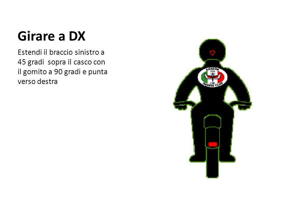 Girare a DX Estendi il braccio sinistro a 45 gradi sopra il casco con il gomito a 90 gradi e punta verso destra