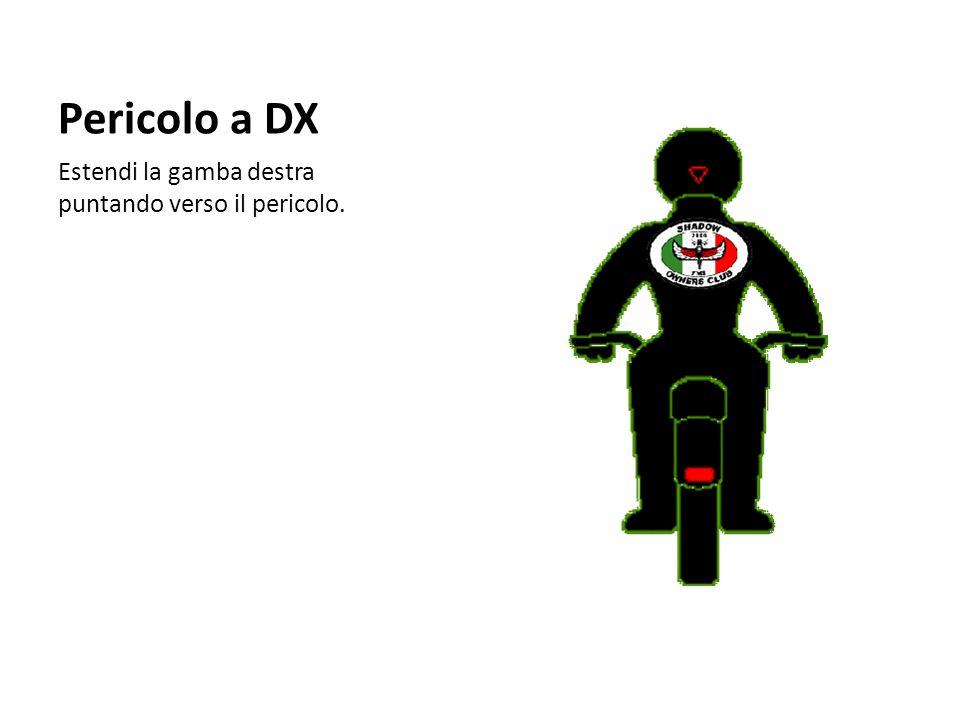 Pericolo a DX Estendi la gamba destra puntando verso il pericolo.