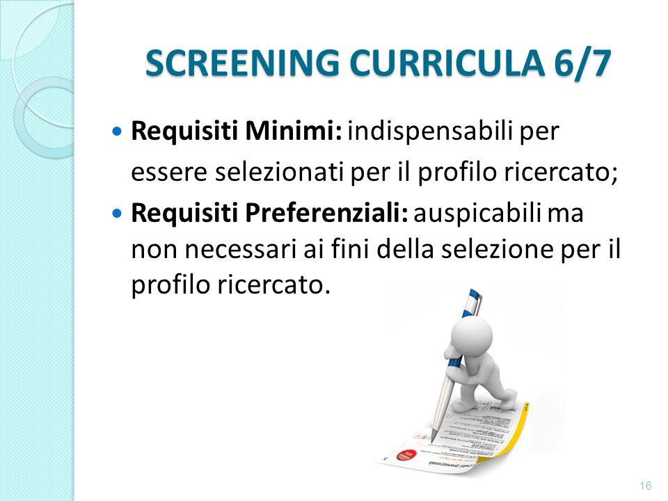 SCREENING CURRICULA 6/7 Requisiti Minimi: indispensabili per essere selezionati per il profilo ricercato; Requisiti Preferenziali: auspicabili ma non necessari ai fini della selezione per il profilo ricercato.