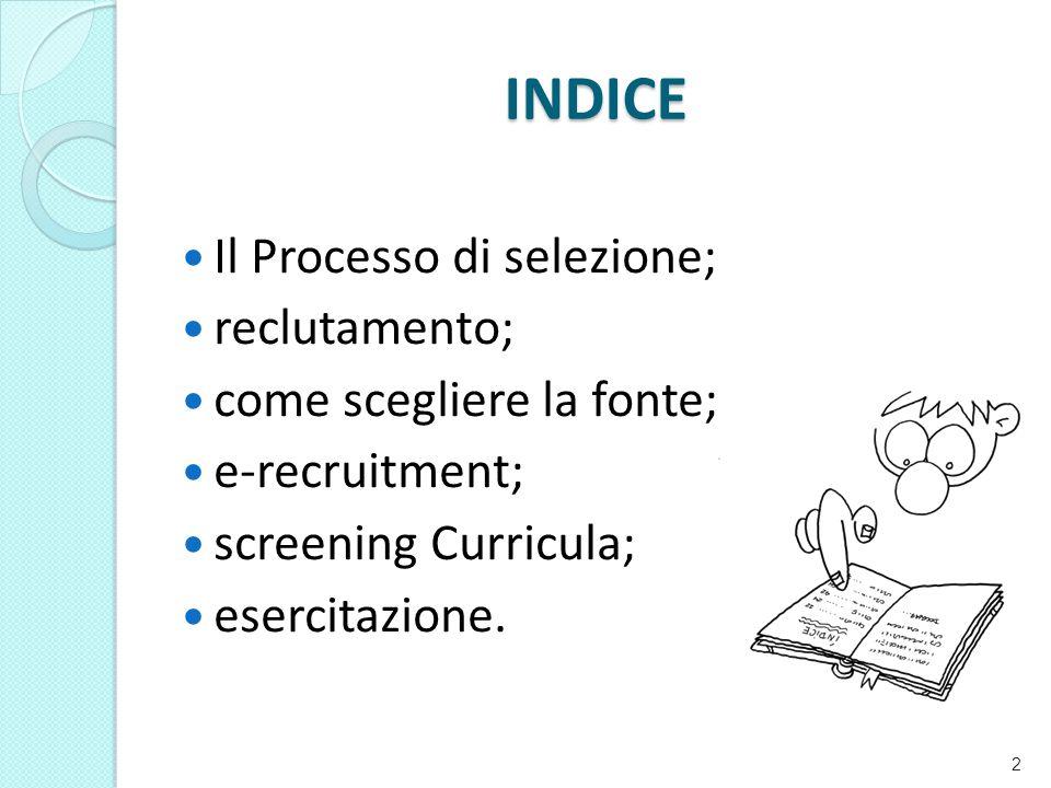 INDICE Il Processo di selezione; reclutamento; come scegliere la fonte; e-recruitment; screening Curricula; esercitazione.