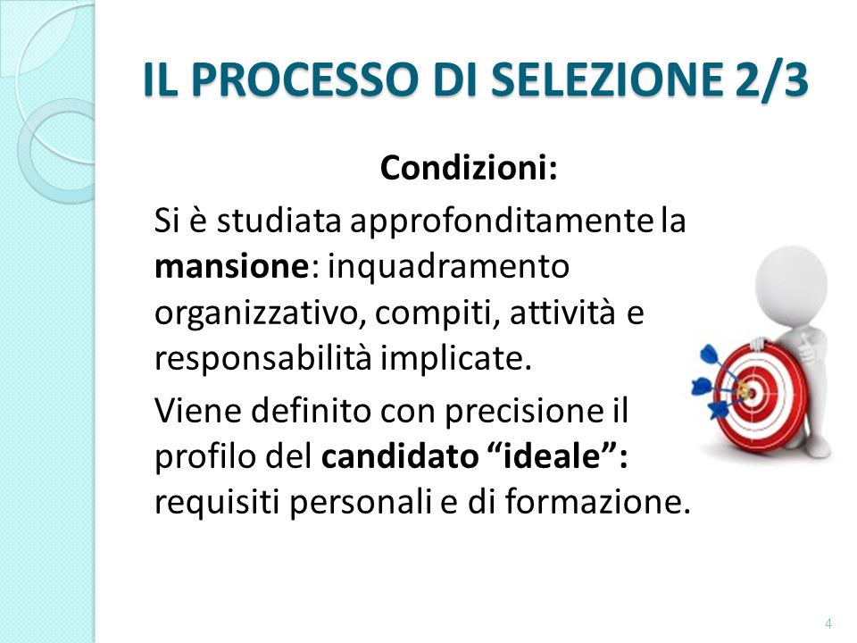 IL PROCESSO DI SELEZIONE 2/3 Condizioni: Si è studiata approfonditamente la mansione: inquadramento organizzativo, compiti, attività e responsabilità implicate.