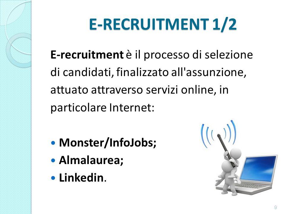 E-RECRUITMENT 1/2 E-recruitment è il processo di selezione di candidati, finalizzato all assunzione, attuato attraverso servizi online, in particolare Internet: Monster/InfoJobs; Almalaurea; Linkedin.