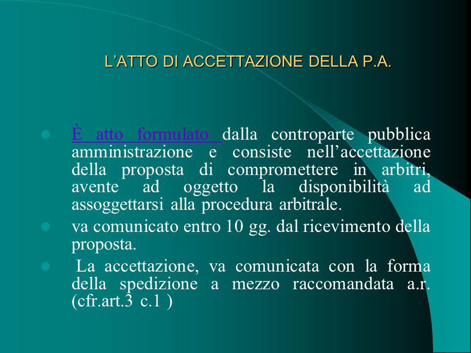 L'ATTO DI ACCETTAZIONE DELLA P.A. L'ATTO DI ACCETTAZIONE DELLA P.A.