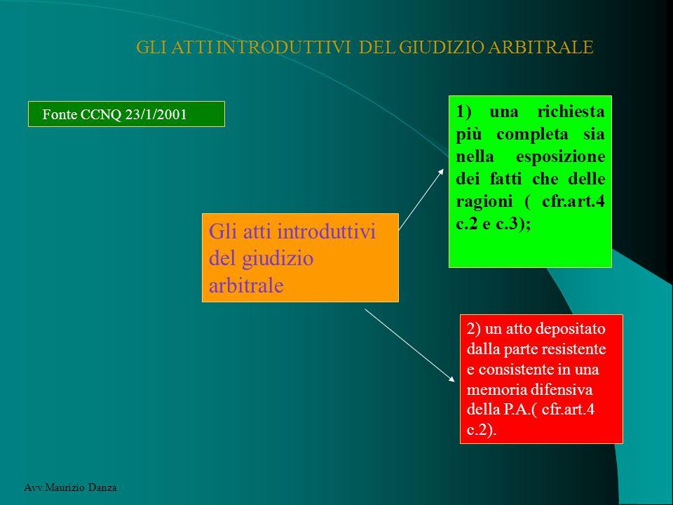 GLI ATTI INTRODUTTIVI DEL GIUDIZIO ARBITRALE Fonte CCNQ 23/1/2001 Gli atti introduttivi del giudizio arbitrale 1) una richiesta più completa sia nella esposizione dei fatti che delle ragioni ( cfr.art.4 c.2 e c.3); 2) un atto depositato dalla parte resistente e consistente in una memoria difensiva della P.A.( cfr.art.4 c.2).