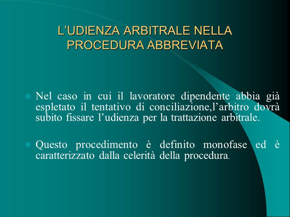 L'UDIENZA ARBITRALE NELLA PROCEDURA ABBREVIATA Nel caso in cui il lavoratore dipendente abbia già espletato il tentativo di conciliazione,l'arbitro dovrà subito fissare l'udienza per la trattazione arbitrale.