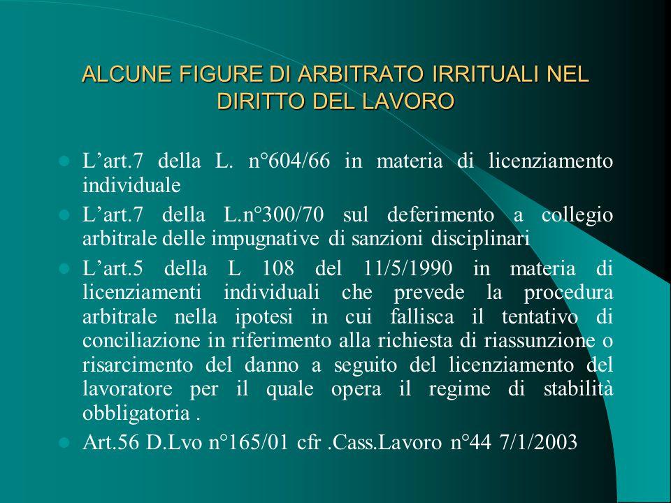 ALCUNE FIGURE DI ARBITRATO IRRITUALI NEL DIRITTO DEL LAVORO L'art.7 della L.